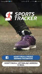 Sports Tracker - wygląd aplikacji przed logowaniem