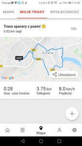 Zakładka - Mapa - Moje Trasy